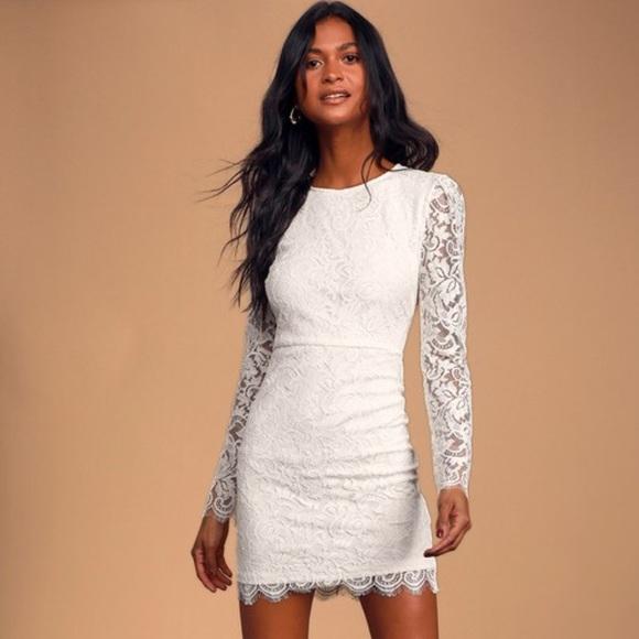 WHITE LACE LONG SLEEVE BODICON DRESS